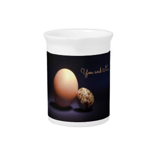 Chicken and quail eggs in love. Text «You and Me». Beverage Pitcher