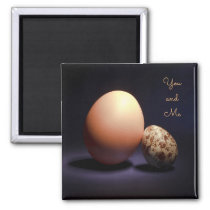Chicken and quail eggs in love. Text «You and Me». Magnet