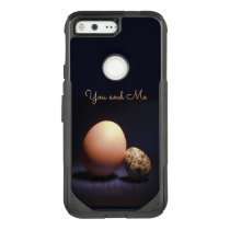 Chicken and quail eggs in love. Text «You and Me». OtterBox Commuter Google Pixel Case