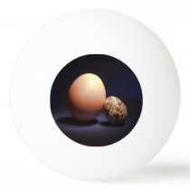 Chicken and quail eggs in love. Text «You and Me». Ping Pong Ball