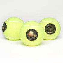 Chicken and quail eggs in love. Text «You and Me». Tennis Balls