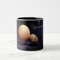 Chicken and quail eggs in love. Text «You and Me». Two-Tone Coffee Mug