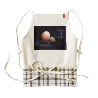 Chicken and quail eggs in love. Text «You and Me». Zazzle HEART Apron