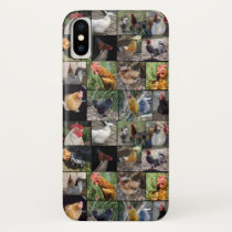 Chicken,And Rooster Photo Collage, iPhone X Case