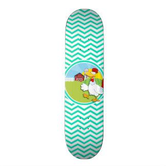 Chicken; Aqua Green Chevron Custom Skate Board