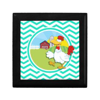 Chicken; Aqua Green Chevron Gift Box