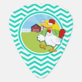 Chicken; Aqua Green Chevron Guitar Pick