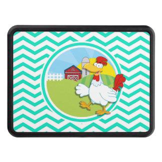 Chicken; Aqua Green Chevron Hitch Cover
