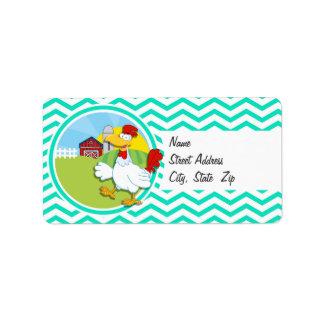 Chicken; Aqua Green Chevron Address Label