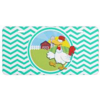 Chicken; Aqua Green Chevron License Plate