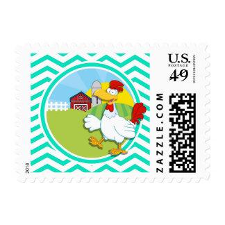 Chicken; Aqua Green Chevron Stamps