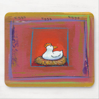 Chicken art hen laying eggs fun colorful painting mousepads