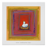 Chicken art hen laying eggs fun colorful painting print