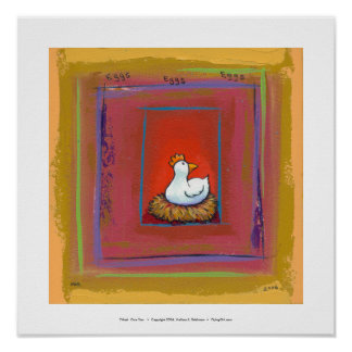 Chicken art hen laying eggs fun colorful painting poster