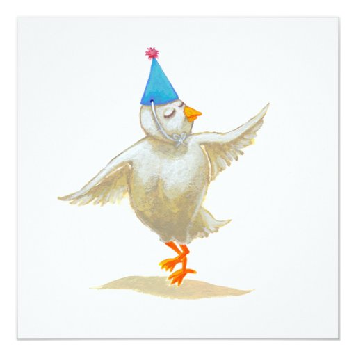 Chicken art party hat lovely feeling Holly dances Personalized Invites