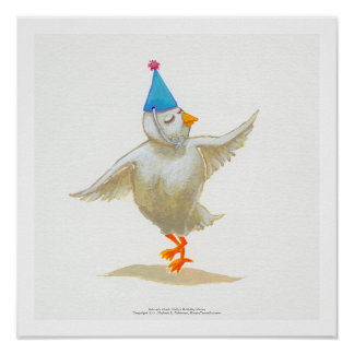 Chicken art party hat lovely feeling Holly dances Print