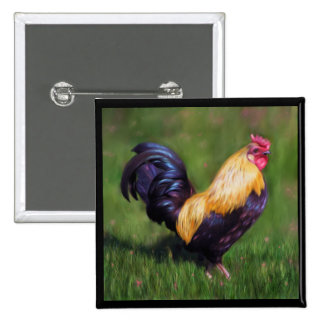 Chicken Art Stuart Bantam Rooster Buttons