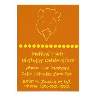 Chicken Backyard Birthday Party 5x7 Paper Invitation Card