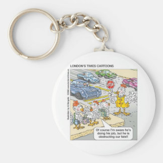 Chicken Barriers Funny Cartoon Gifts & Tees Keychain