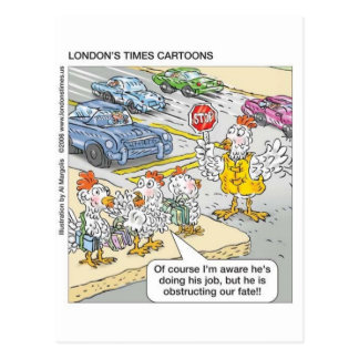 Chicken Barriers Funny Cartoon Gifts & Tees Postcard