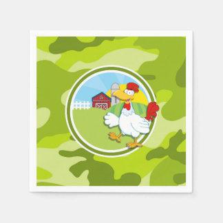 Chicken; bright green camo, camouflage paper napkins