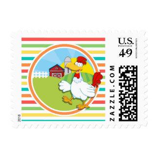 Chicken; Bright Rainbow Stripes Stamps