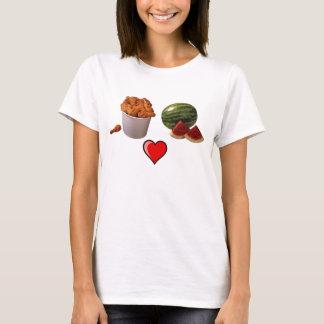 chicken-bucket1, watermelon[1], 491px-Heart_lef... T-Shirt