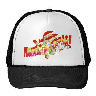Chicken chasing Easter Bunny. Trucker Hat
