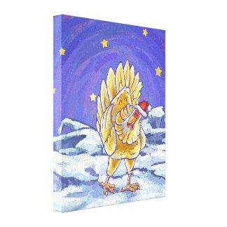 Chicken Christmas Canvas Prints