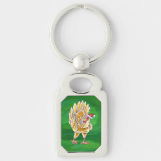 Chicken Christmas On Green Keychain