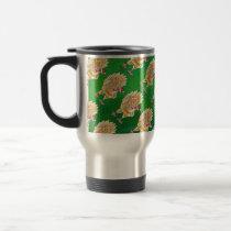 Chicken Christmas On Green Travel Mug