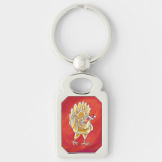 Chicken Christmas On Red Keychain
