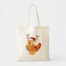 Chicken Christmas Reindeer lights xmas funny Tote Bag