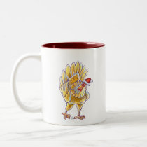 Chicken Christmas Two-Tone Coffee Mug