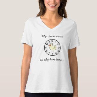 Chicken Clock Set Women's Bella Plus Size Jersey T Shirts