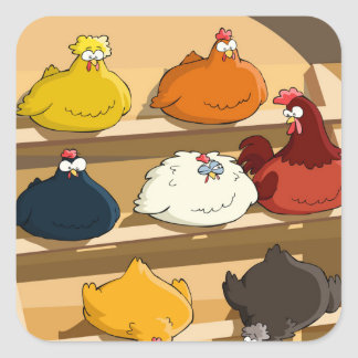 Chicken Coop Easter Eggs Square Sticker