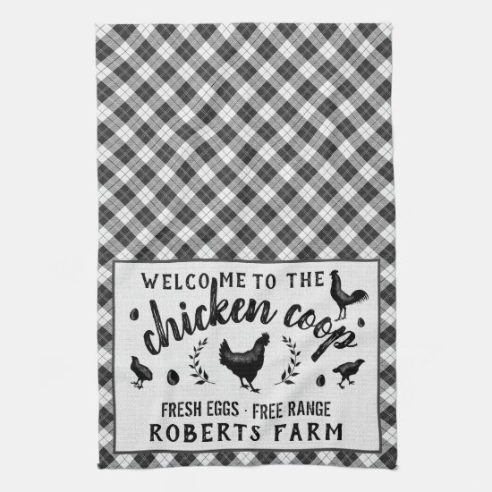 Chicken Coop Hen Black Buffalo Check Plaid Country Kitchen Towel