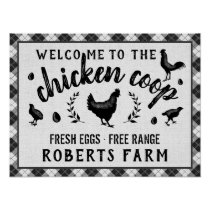 Chicken Coop Hen Black Buffalo Check Plaid Country Poster