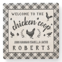 Chicken Coop Hen Black Buffalo Check Plaid Country Stone Coaster
