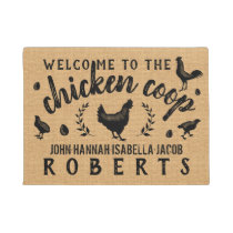 Chicken Coop Hen Rustic Burlap Country Farmhouse Doormat