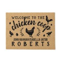 Chicken Coop Hen Rustic Burlap Country Farmhouse Doormat