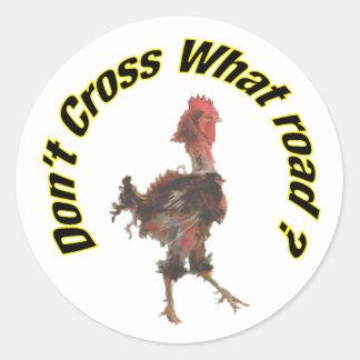 Chicken cross the road classic round sticker