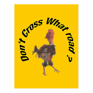 Chicken cross the road post cards