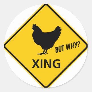 Chicken Crossing Highway Sign Classic Round Sticker