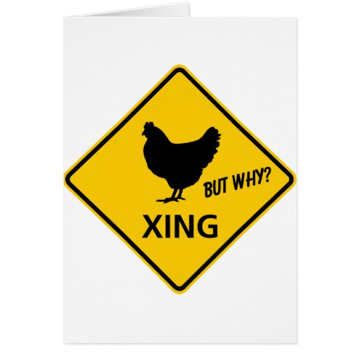 Chicken Crossing Highway Sign Greeting Card