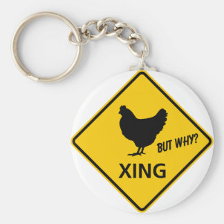 Chicken Crossing Highway Sign Key Chains