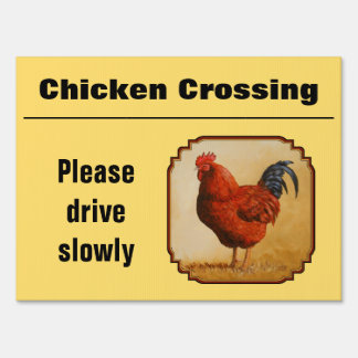 Chicken Crossing Rhode Island Red Rooster Yard Sign