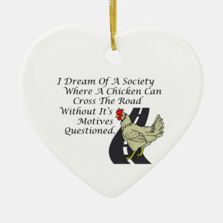 Chicken Crossing The Road Double-Sided Heart Ceramic Christmas Ornament
