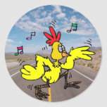 Chicken Crossing The Road Sticker