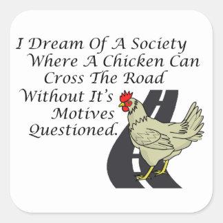 Chicken Crossing The Road Square Sticker